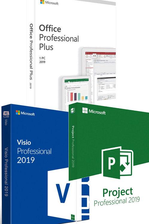 Microsoft Office 2019 Professional Plus, Visio e Project 2019 Professional