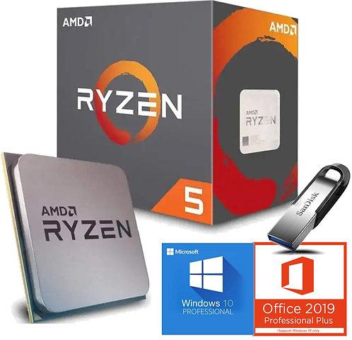 AMD Processore Ryzen 5 AM4 boxed incluso Software OS Windows, Office e Sandisk