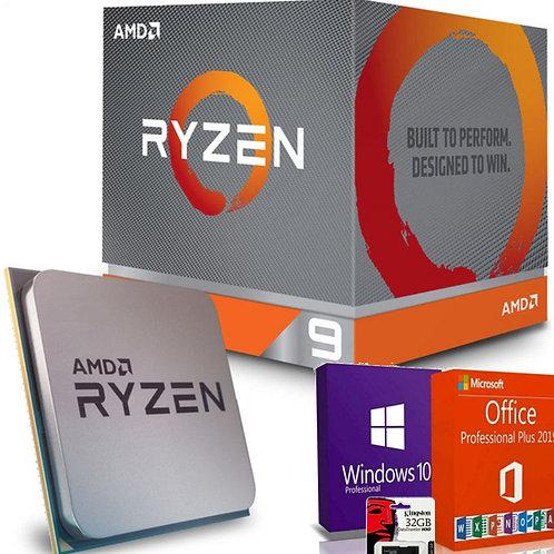 AMD Processore Ryzen 9 AM4 boxed incluso Software OS Windows, Office e Kingston