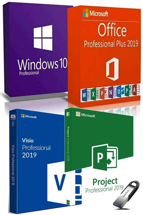 Microsoft Windows 10 Pro, Office, Visio, Project 2019 Pro Plus, SanDisk Pendrive