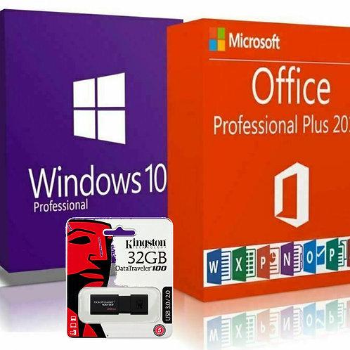 Microsoft Windows 10 Pro, Office 2019 Pro Plus e Kingston Pendrive