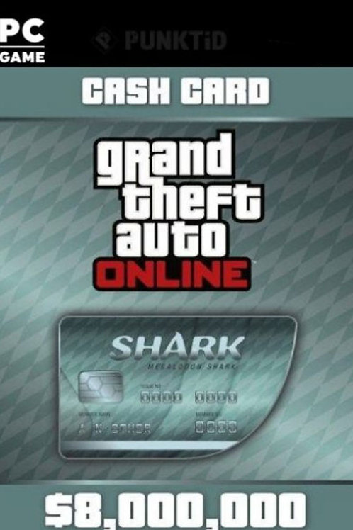 Megalodon shark GTA Online Cash Card $ 8,000,000 Digital code PC Windows