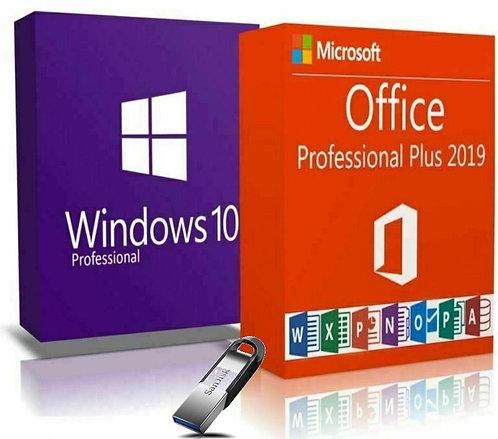 Microsoft Windows 10 Pro, Office 2019 Pro Plus e SanDisk Ultra Flair ™ USB 3.0