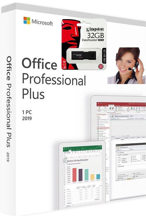 Microsoft Office 2019 Professional Plus e  Kingston Pendrive
