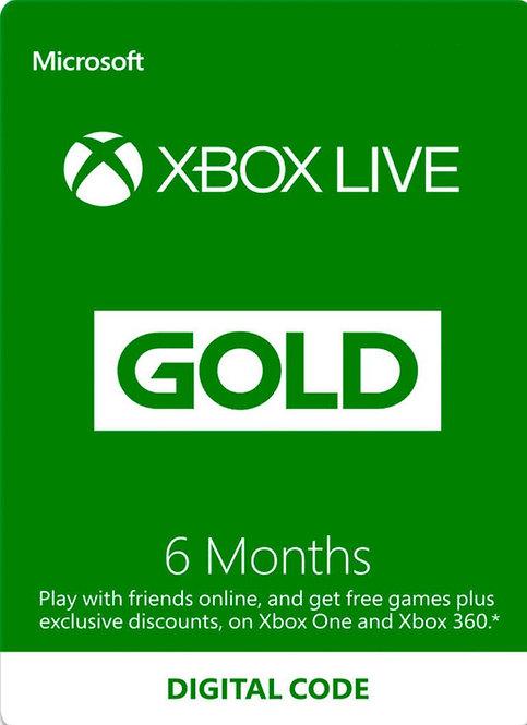Xbox Live Gold Microsoft Xbox One S, Xbox One, Xbox 360 6 mesi