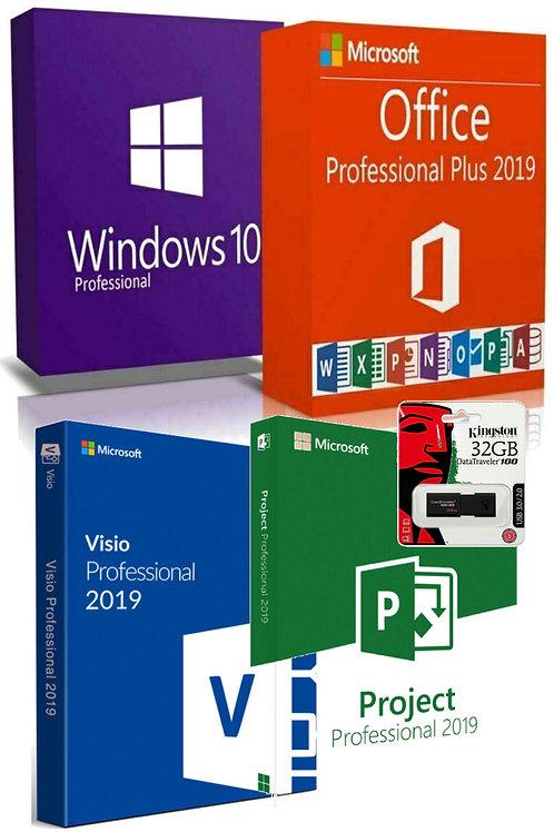 Microsoft Windows 10 Pro, Office, Visio, Project 2019 Pro Plus,Kingston Pendrive