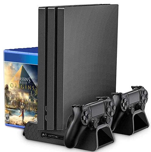 Supporto verticale, ventole raffreddamento, ricarica doppio controller PS4