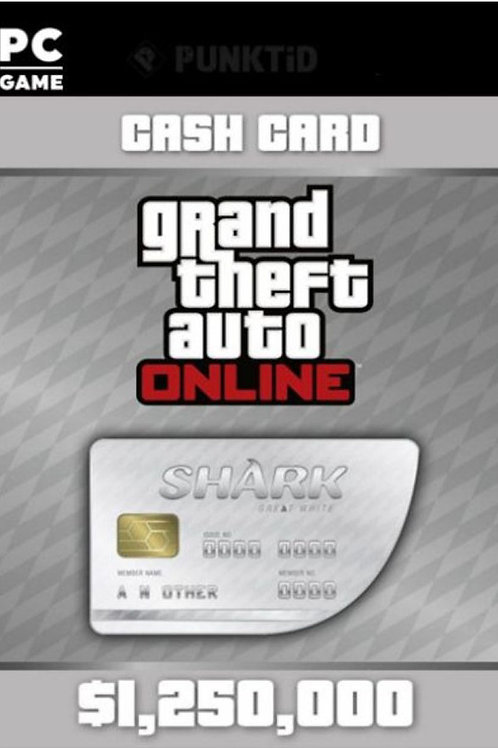 Great White Shark GTA Online Cash Card $ 1,250,000 Digital code PC Windows