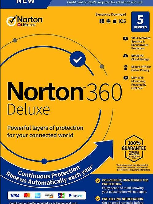 Norton 360 Deluxe 2020, 5 dispositivi / 1 anno