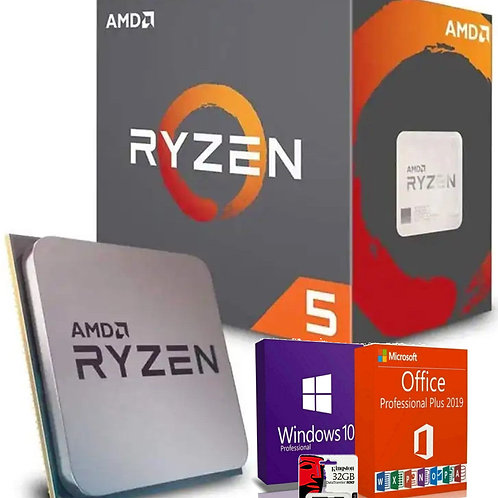 AMD Processore Ryzen 5 AM4 boxed incluso Software OS Windows, Office e Kingston