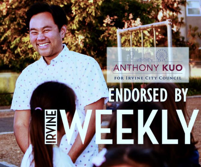 Irvine Weekly Endorses Anthony Kuo