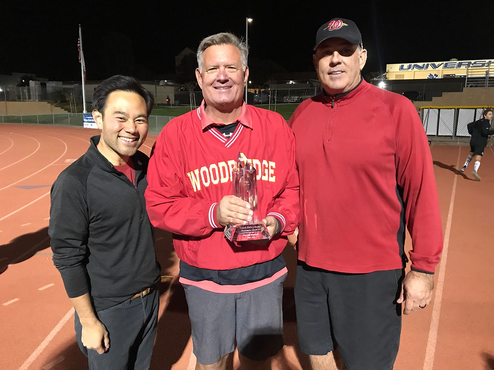 Mayor Pro Tem Anthony Kuo with Coach Rick Gibson and Boosters President Jay Lyon
