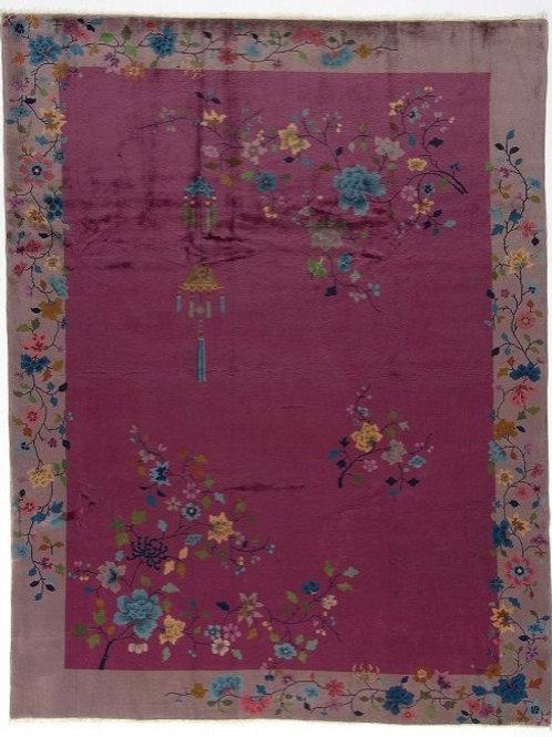 """Purple Floral Vintage Art Deco Rug ARI-500571 8' 11"""" x 11' 9"""""""