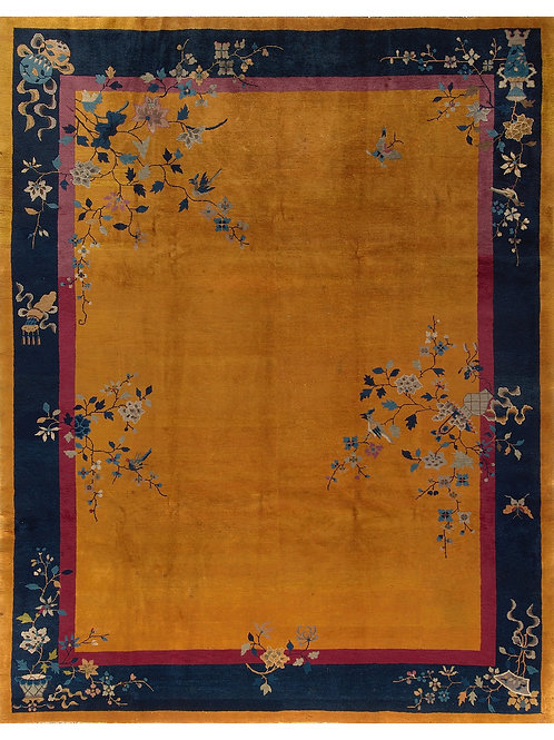 Gold Floral Antique Chinese Art Deco Rug ARI-500551 9' x 11' 4""