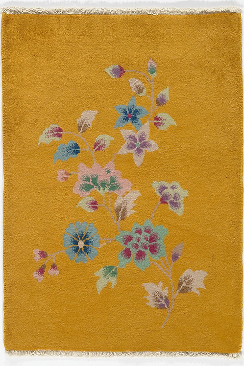 Yellow Chinese Art Deco Rug with Floral Designs ARI-500727 2' x 2' 9""