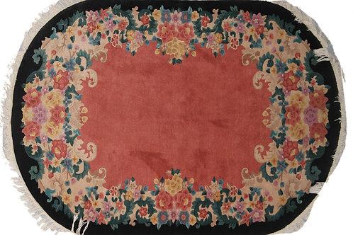 """Orange Oval Floral Antique Chinese Art Deco Rug ARI-6403 4' 6"""" x 7' 3"""""""