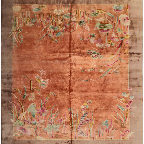 "Brown Floral Antique Chinese Art Deco Rug ARI-3192 8' 9"" x 11' 3"""