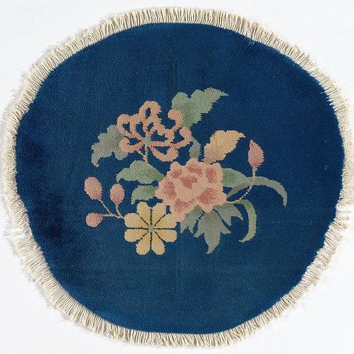 "Round Navy Vintage Chinese Art Deco Rug ARI-500729 1' 11"" x 2'"
