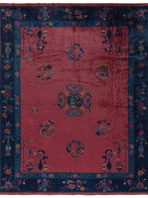 """Burgundy Pictorial Antique Chinese Art Deco Rug ARI-500547 10' 10"""" x 13' 3"""""""