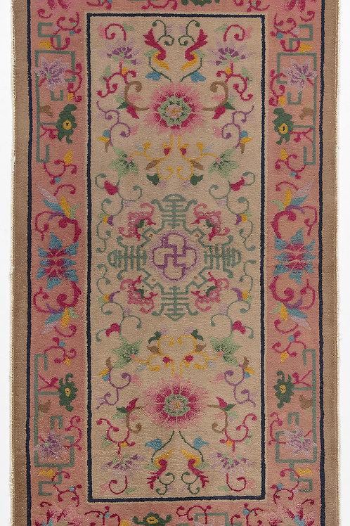 "Cream Floral Vintage Chinese Art Deco Rug ARI-500732 2' 6"" x 4' 10"""