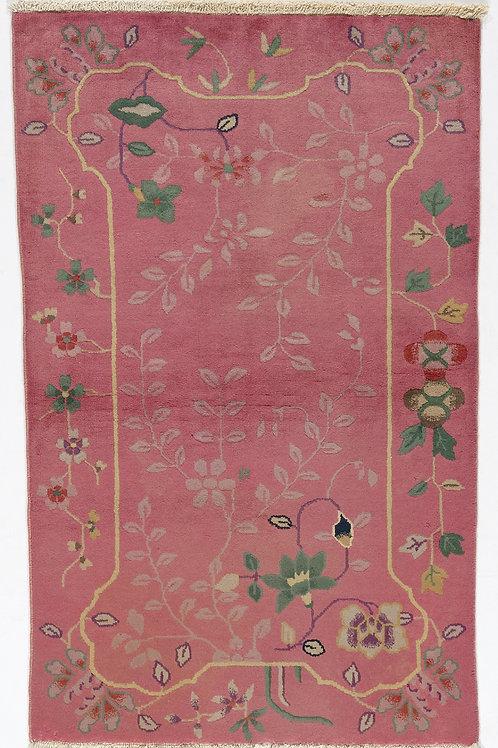 "Pink Floral Vintage Art Deco Rug ARI-500721 3'0""x 4' 10"""
