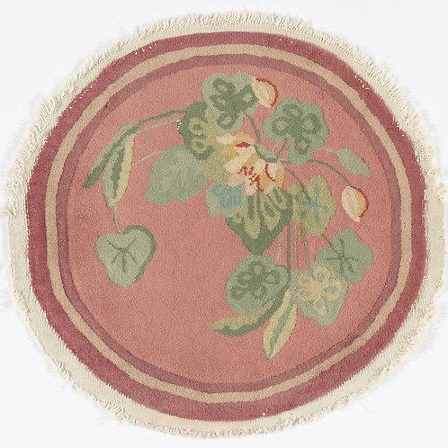 "Round Pink Floral Vintage Chinese Art Deco Rug ARI-500701 1 '11"" x 2'"
