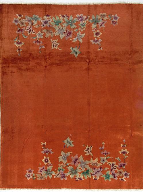 "Orange Chinese Art Deco Rug with Floral Designs ARI-500589 8' 10"" x 11' 3"""