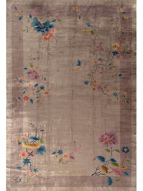 "Brown Floral Vintage Art Deco Rug ARI-500747 11' 11"" x 17' 3"""
