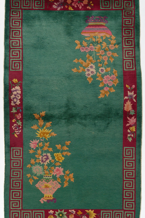 Green Floral Antique Chinese Art Deco Rug ARI-500610 4' x 6' 9""