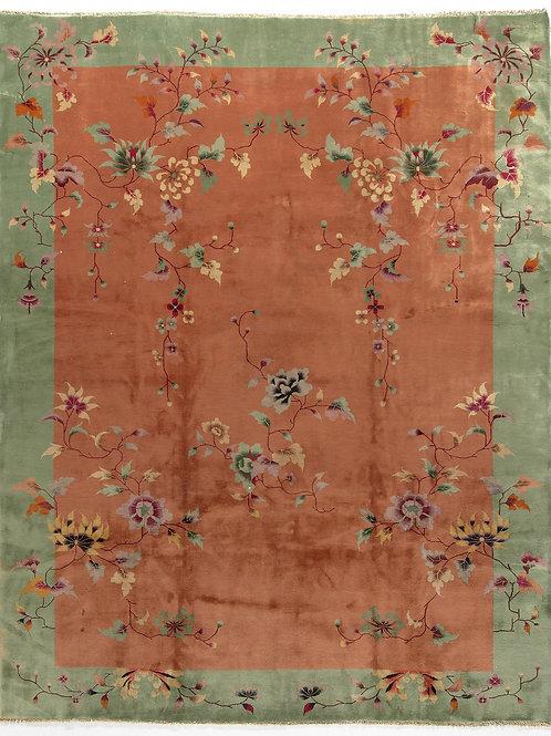 """Orange Floral Antique Chinese Art Deco Rug ARI-500552 9' x 11' 6"""""""