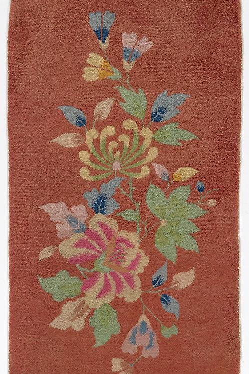 "Orange Floral Vintage Art Deco Rug ARI-500654 2' x 3' 10"""