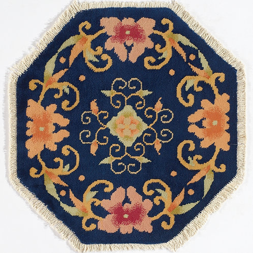 """Octagon Shaped Navy Floral Chinese Art Deco Rug ARI-500706 2' 3"""" x 2' 3"""""""