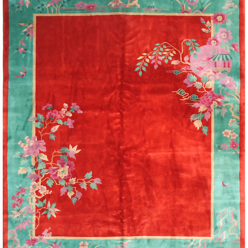 "Red Art Deco Rug with Floral Designs ARI-3075 8' 10"" x 11' 6"""