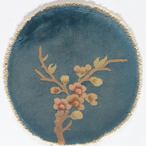 "Circular Blue Floral Vintage Chinese Art Deco Rug ARI-500702 1' 6"" x 1' 6"""