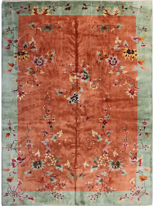 Orange Floral Chinese Art Deco Rug with a Green Border ARI-3987 9' x 11' 6""