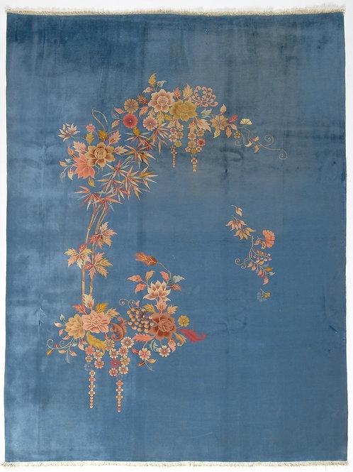 "Blue Floral Antique Chinese Art Deco Rug ARI-500581 8' 12"" x 11' 7"""