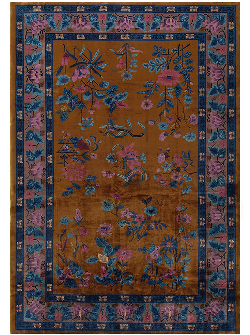 "Brown Floral Antique Chinese Art Deco Rug ARI-500580 9' 9"" x 14'"