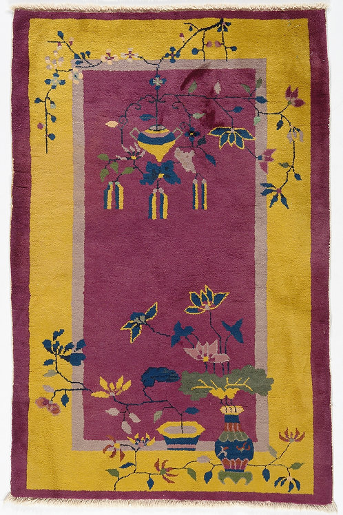 Purple and Yellow Floral Design Chinese Art Deco Rug ARI-500725 3' x 4' 9""