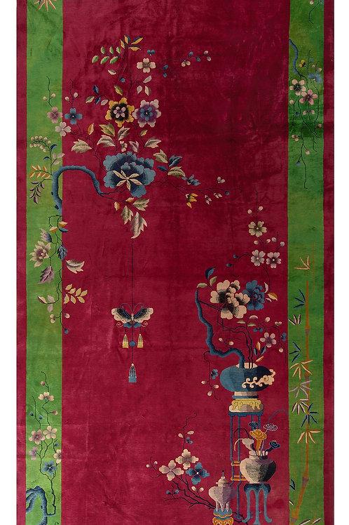 "Burgundy Pictorial Vintage Chinese Art Deco Rug ARI-500548 10' x 19' 1"""