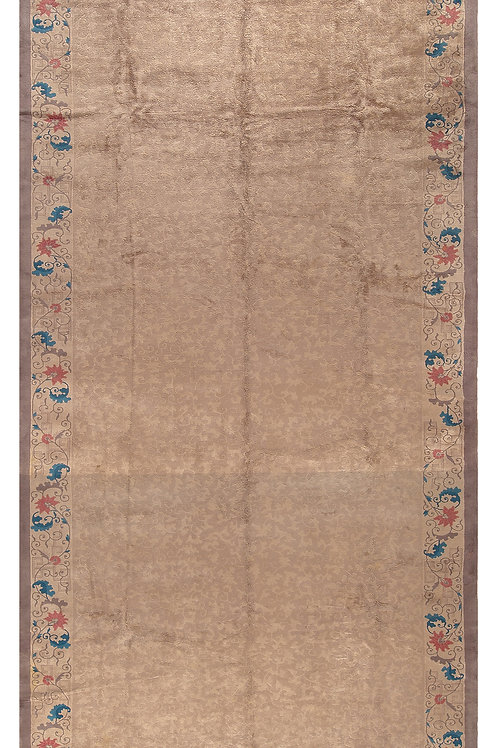 "Rectangular Brown Floral Vintage Chinese Art Deco Rug ARI-500545 10' 6"" x 27' 6"""