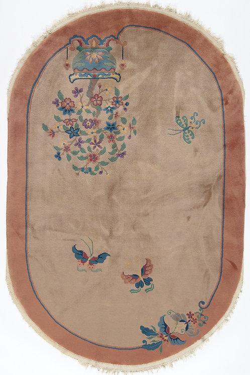 """Cream Oval Pictorial Antique Chinese Art Deco Rug ARI-500619 5' x 7' 6"""""""