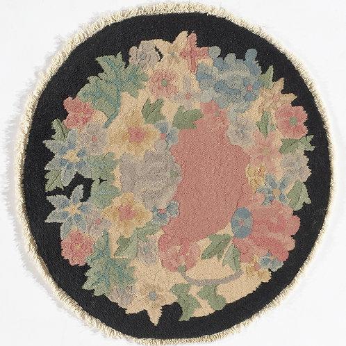 "Round Black Floral Vintage Chinese Art Deco Rug ARI-500697 1' 6"" x 1' 7"""