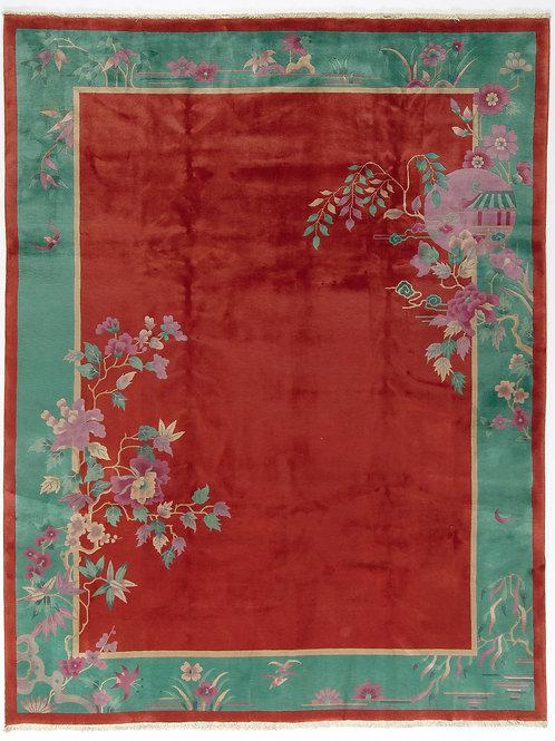 "Red Floral Vintage Art Deco Rug ARI-500724 8' 10"" x 11' 6"""
