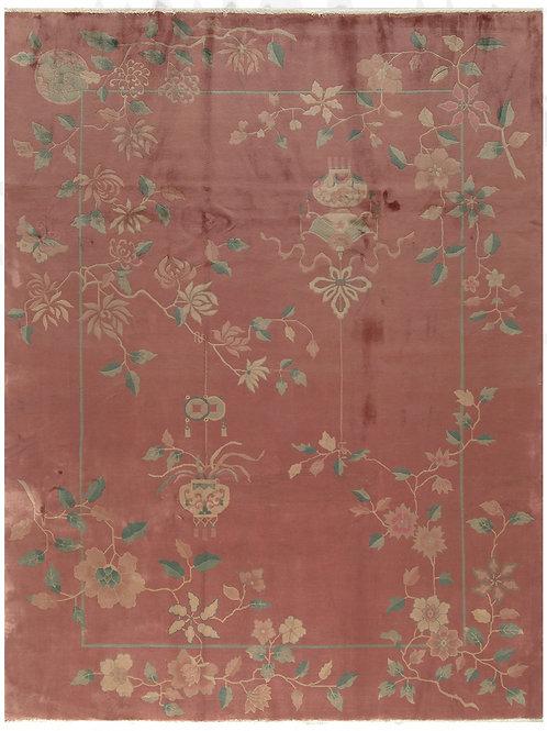 """Salmon Pictorial Antique Chinese Art Deco Rug ARI-500573 8' 6"""" x 11' 1"""""""