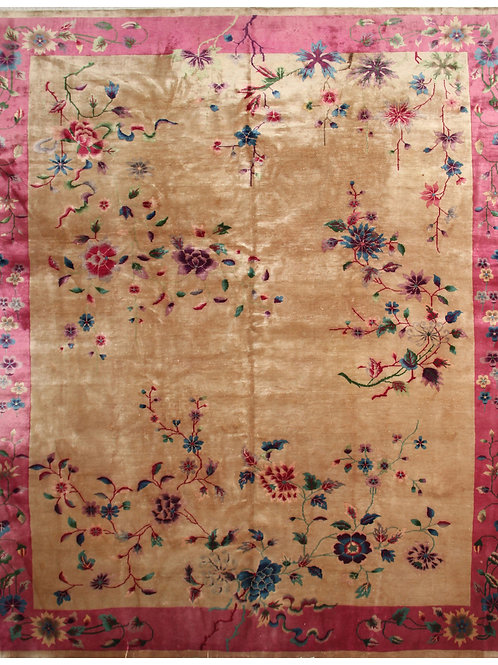 "Cream Floral Antique Chinese Art Deco Rug ARI-4421 8' 9"" x 11' 3"""