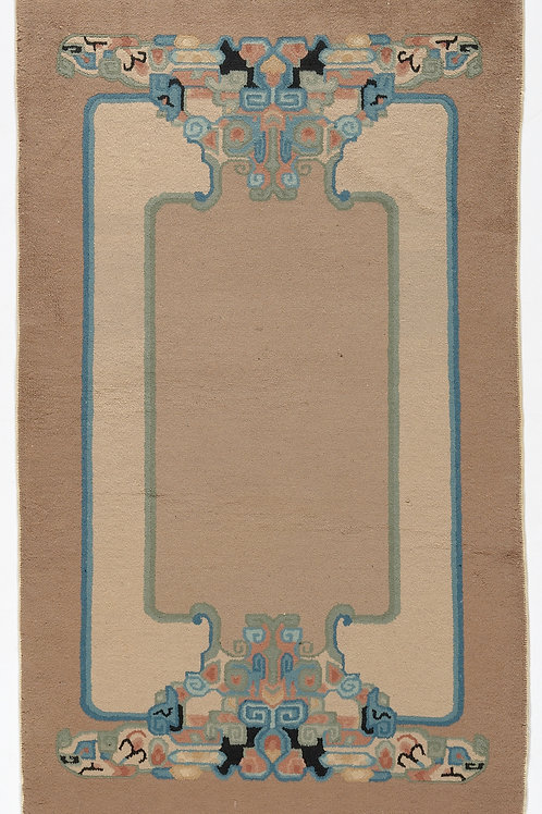 "Rectangular Brown Vintage Chinese Art Deco Rug ARI-500695 2' 9"" x 4' 6"""