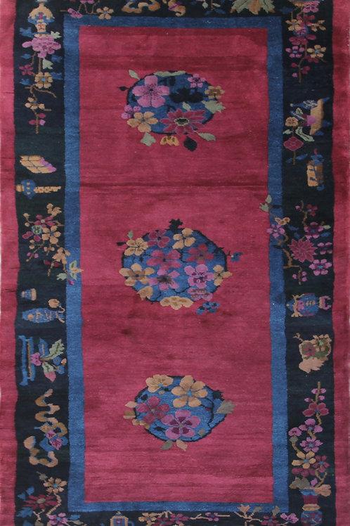 """Burgundy Floral Art Deco Rug ARI-4863 3' 1"""" x 6' 9"""""""