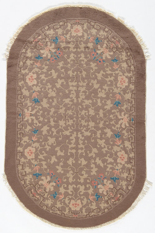"""Oval Brown Floral Vintage Chinese Art Deco RugARI-500696 3' 1"""" x 4' 10"""""""