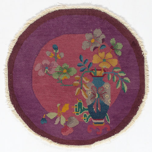 "Round Purple Floral Chinese Art Deco Rug ARI-500715 1' 11"" x 1' 11"""