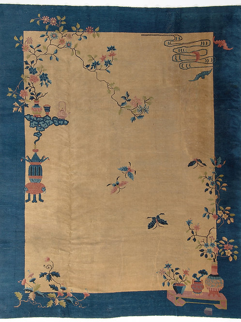 "Cream Vintage Chinese Art Deco Rug with Navy Border ARI-500575 8' 11"" x 11' 4"""